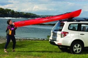 This looks simple.  It is not.  Loading your kayak on the roof rack after paddling all day is hard work.